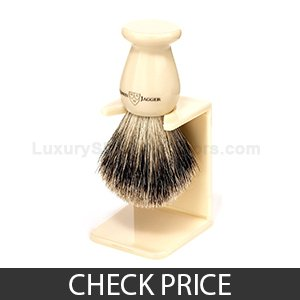 Best Shaving Brush Under $50 - Edwin Jagger Best Badger Shaving Brush, Drip Stand Included, Ivory Imitation