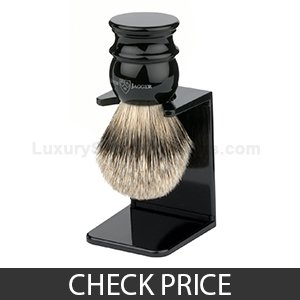 Best Shaving Brush - Edwin Jagger Large Silver Tip Badger Hair With Drip Stand – Black