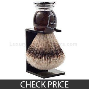 Parker 100% Silvertip Badger Bristle Shaving Brush, Drip Stand Included