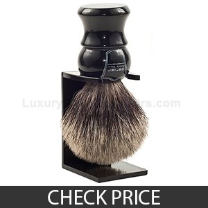 "Best Budget Shaving Brush - Parker Safety Razor ""Long Loft"" 100% Pure Badger Bristle with Ebony Handle & Free Stand"