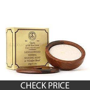 Best Shaving Soap - Taylor of Old Bond Street Sandalwood in a Wooden Bowl, 3.5 oz
