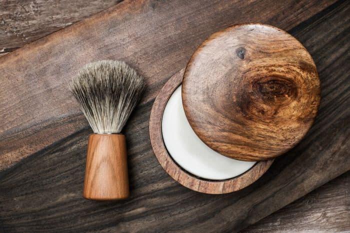 Shaving cream and brush
