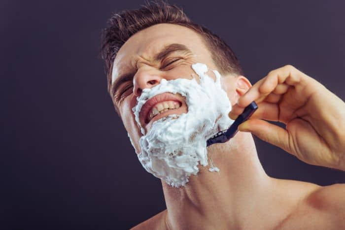 Shaving with razor sensitive skin